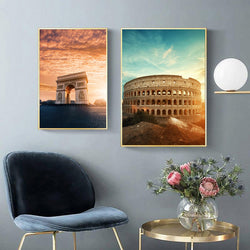 Colosseum-and-Arch-of-Triump-Canvas-Painting-Architecture-Eleartwall