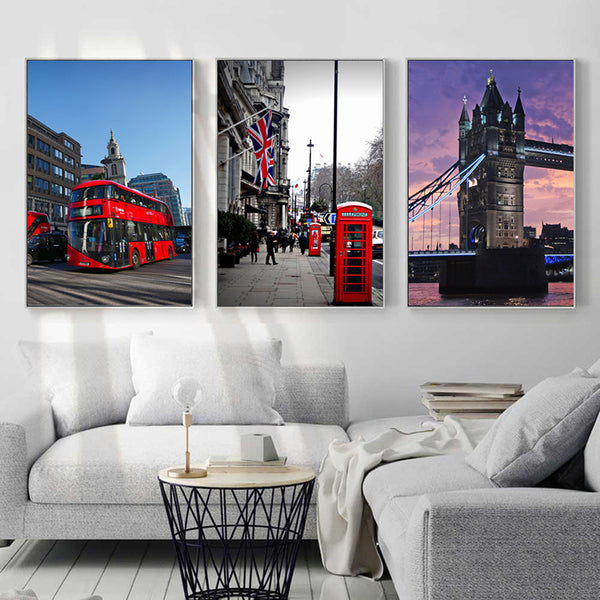 London Street Scenery Canvas Wall Poster