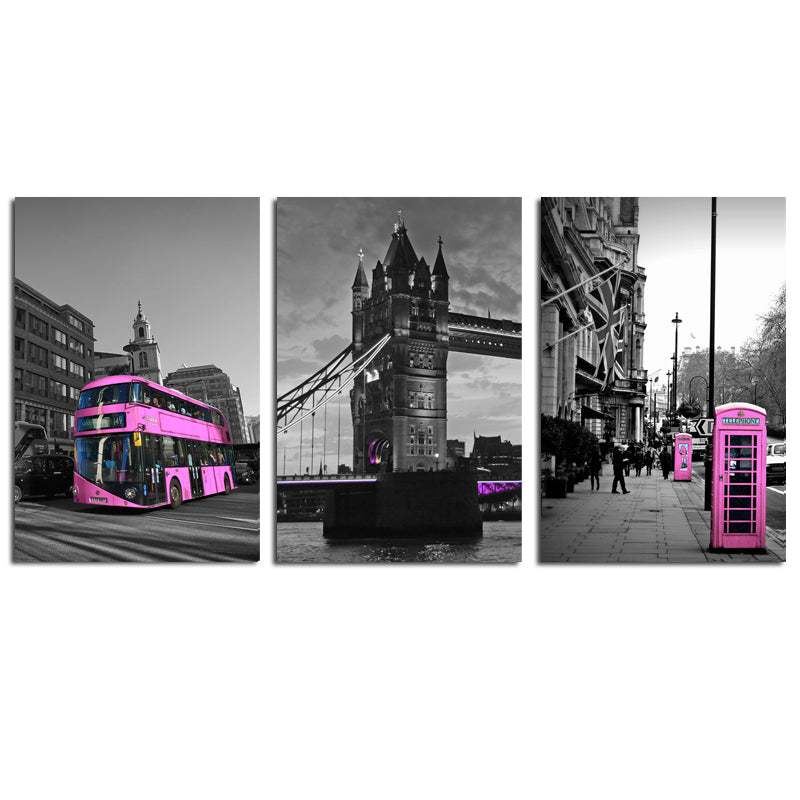 Modern-Red-Bus-on-London-Street-Wall-Art-Print-Poster-on-Canvas
