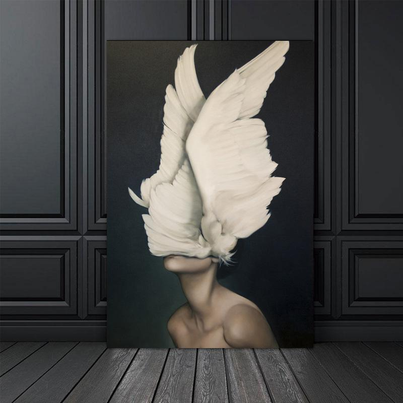 Feather-Flower-Woman-Head-Canvas-Wall-Art-Print-Poster-Nordic-Style