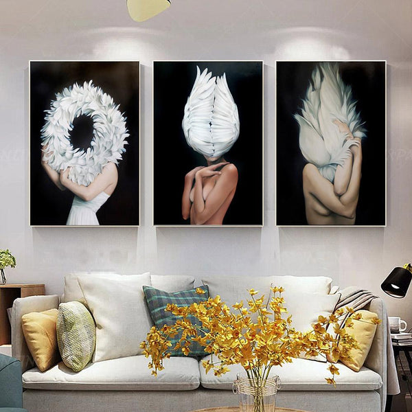 Women Body Wing Feather Canvas Painting