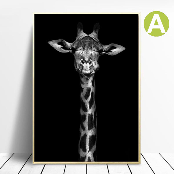 Canvas-Painting-Giraffe-Lion-Elephant-Black-and-White-Art-elephant