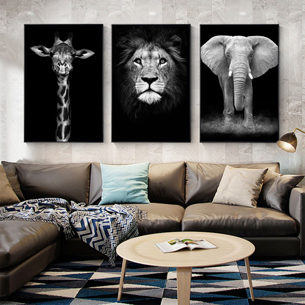 Giraffe Lion Elephant Black & White Artwork