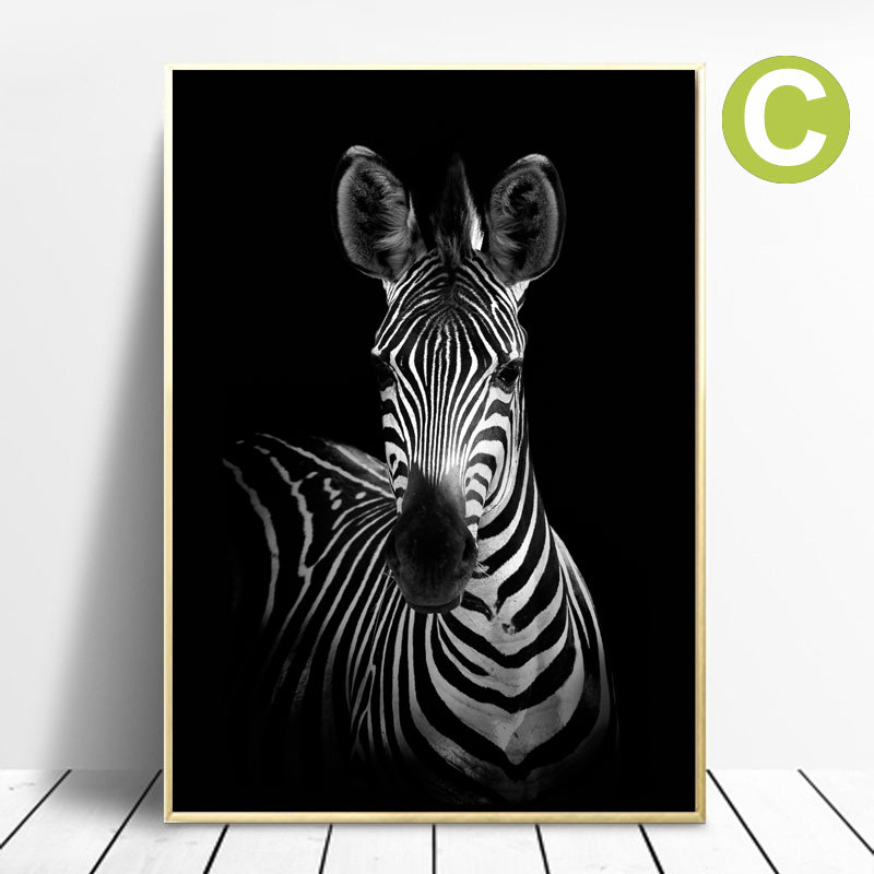 Rhino Zebra Animal Poster Black & White Print