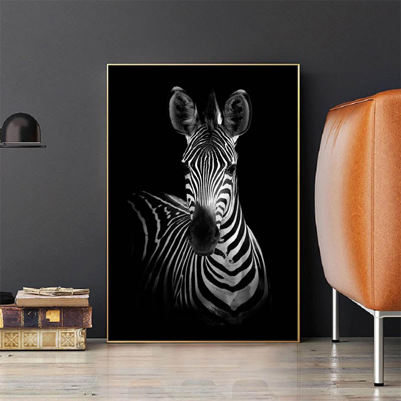 Canvas-Painting-Giraffe-Lion-Rhino-Elephant-Zebra-Black-and-White-Art