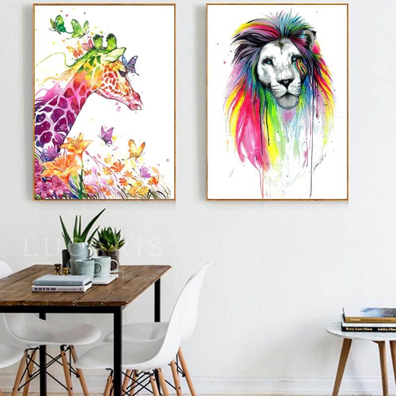 Lion-Print-Giraffe-Watercolor-Print-Animal-Wall-Decor-Wildlife-Poster