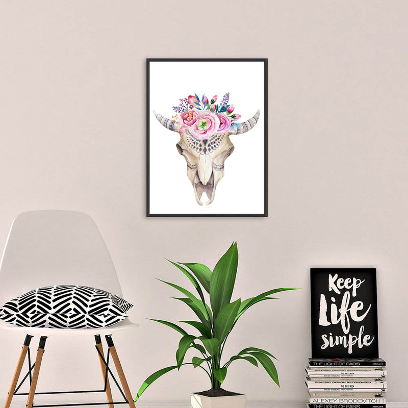 Colored-Animals-Skull-Wildlife-Poster-with-Flower-Art-Canvas-Painting