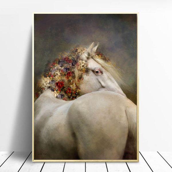 Wall Art Poster White War Horse