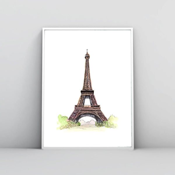 Watercolor Picture, Hand Painted Eiffel Tower