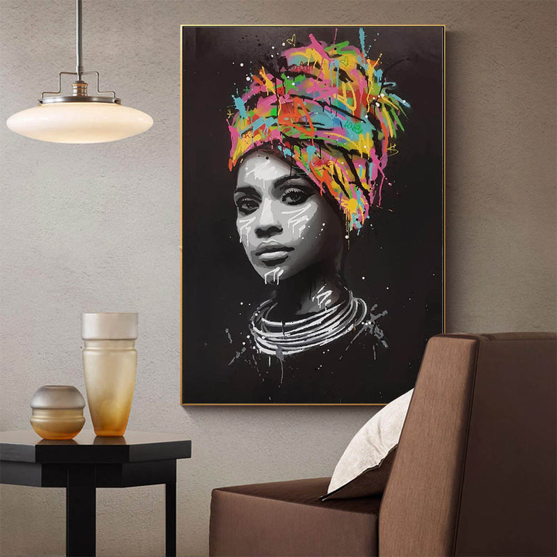African American Woman, Wall Art, Graffiti Face, Canvas Print, Pop Art