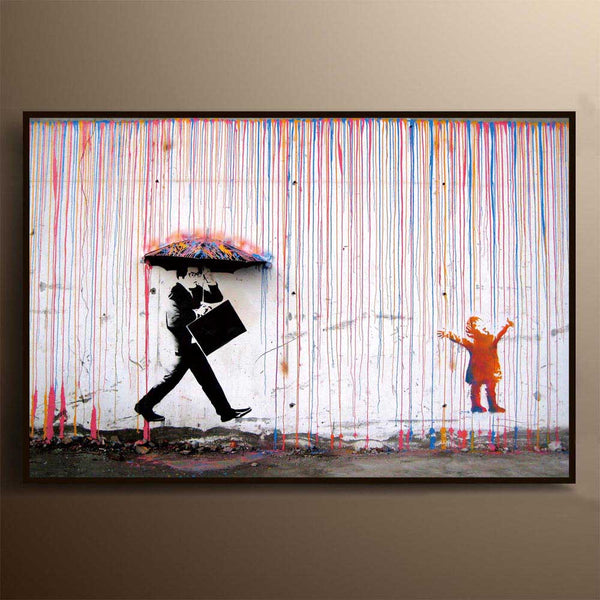 Graffiti-Canvas-Painting-Wall-Art-Poster-Rainbow-Rain-Umbrella-Man