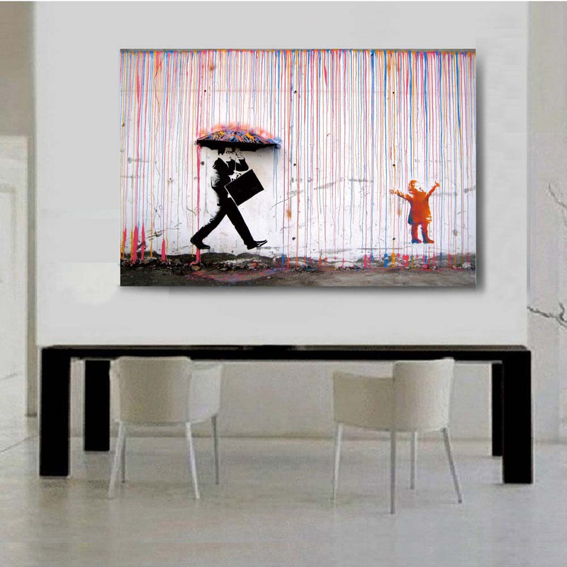 Graffiti, Umbrella Men, Rainbow Rain Man, Wall Art, Canvas Painting