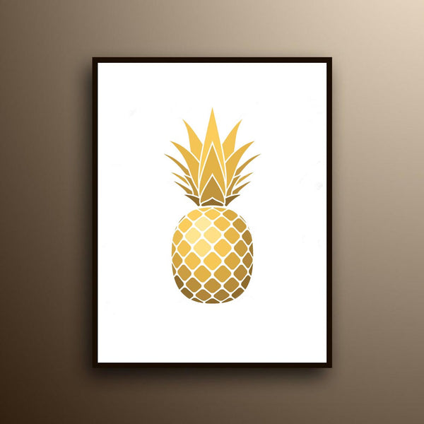 Gold Pineapple, Pineapple Print, Fruit Canvas, Art Print, Home Decor