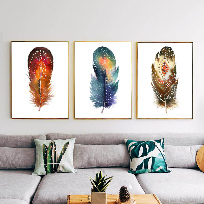 3pcs Feather Art Canvas, Feather Painting, watercolor art, Home Decor