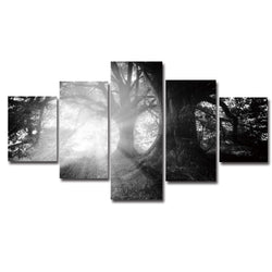 Forest Sunrise Canvas, Black and White Painting, Wall Art, Home Decor