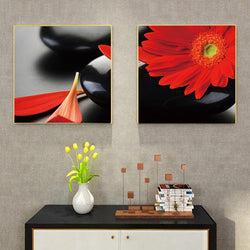 Red Daisy Flower Wall art Prints
