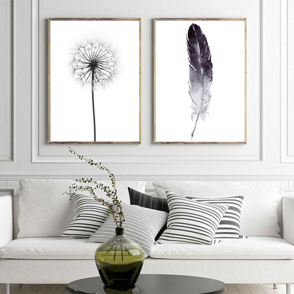 Watercolor Black Feather Canvas, Dandelion Flower print, Home decor