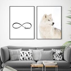 White Wolf animal on Canvas, Infinity Symbol Love Painting, Wall Art
