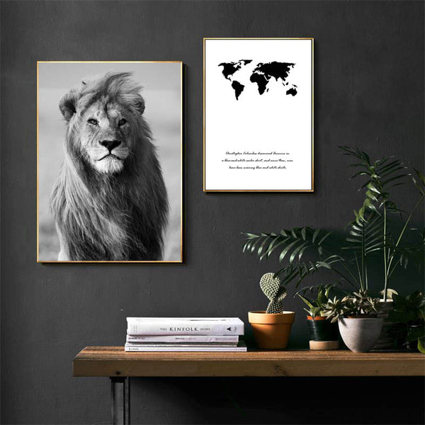 Nordic, World Map, Lion, Painting on Canvas, Black White, Wall Art Poster