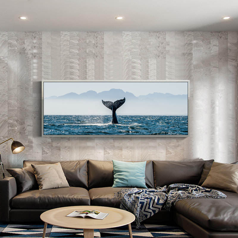 Whale Tail, Natural Sea Landscape, Canvas Painting, Wall Art Poster
