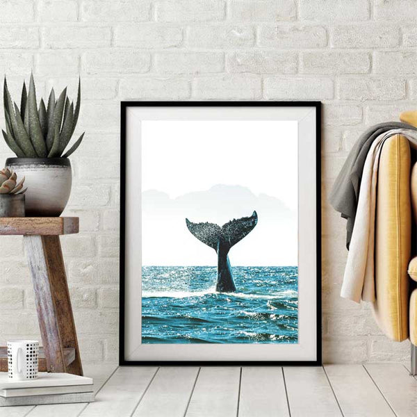 Whale Tail, Natural Sea Landscape Picture and Prints, Canvas Painting