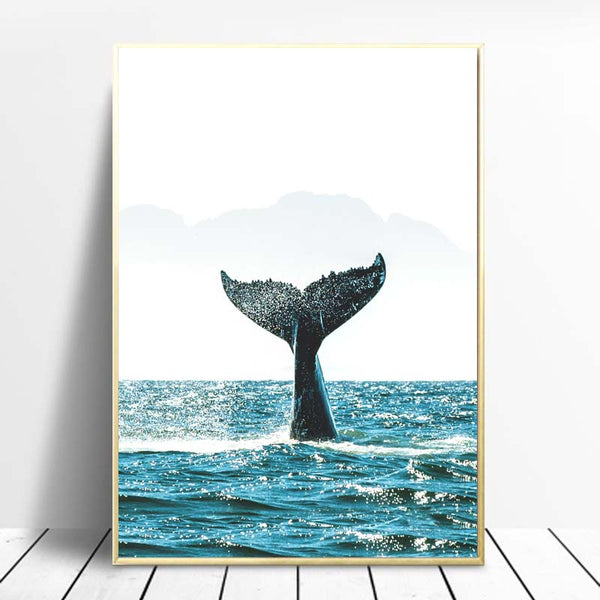 Wall-Art-Poster-Whale-Tail-Sea-Picture-Animal-Canvas-Prints-Home-Decor