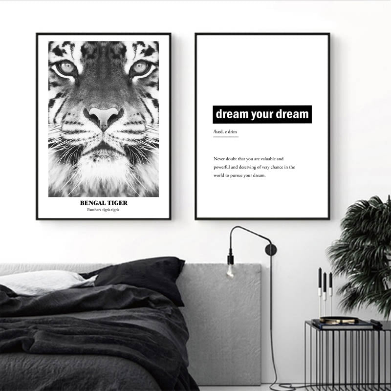 Bengal Tiger Picture Canvas, Black White Animal Prints, Wall art Poster