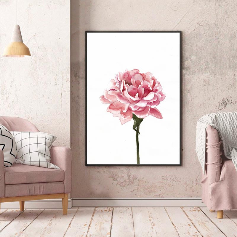 Modern Pink Rose, Flowers Watercolor, Canvas Paintings, Wall Art Posters