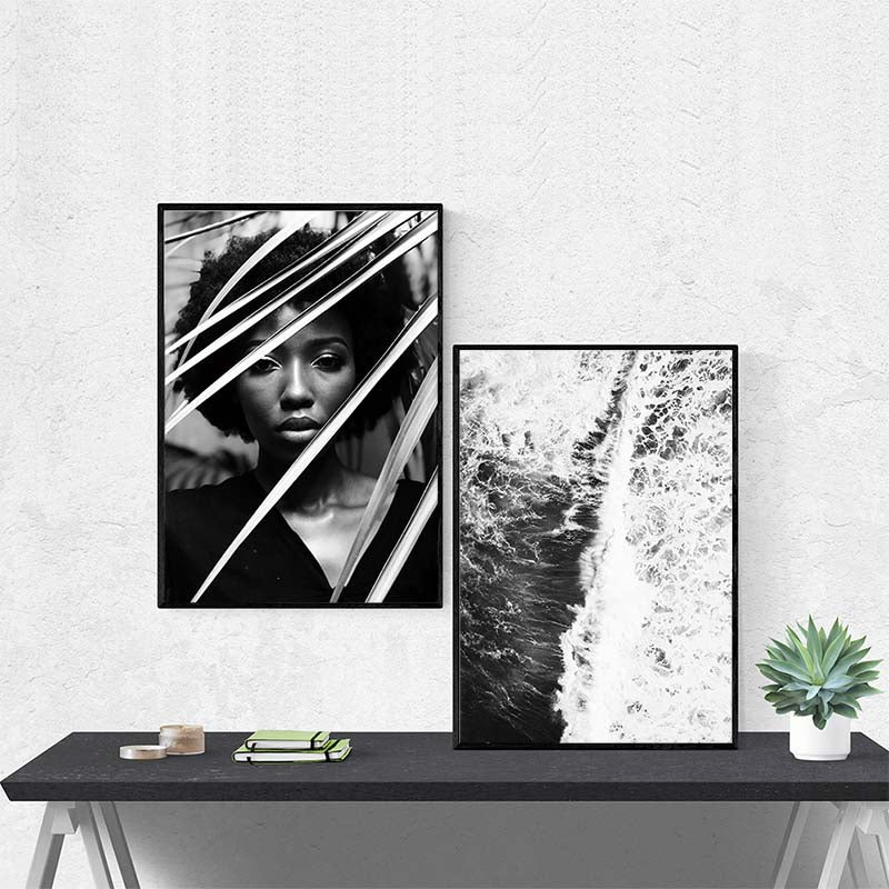 Black and White, Women Canvas Painting, Sea Print, Wall Art Poster