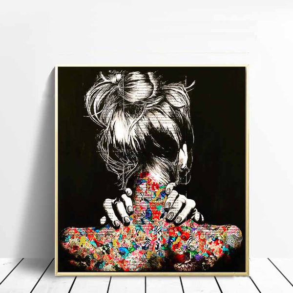 Tattoo Back, Hazy Graffiti Girl's Back, Canvas Painting, Wall art Poster