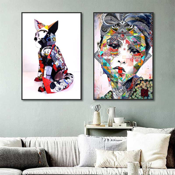 Dog-&-Woman-Canvas-Painting-Abstract-Graffiti-Print-Wall-Art-Poster