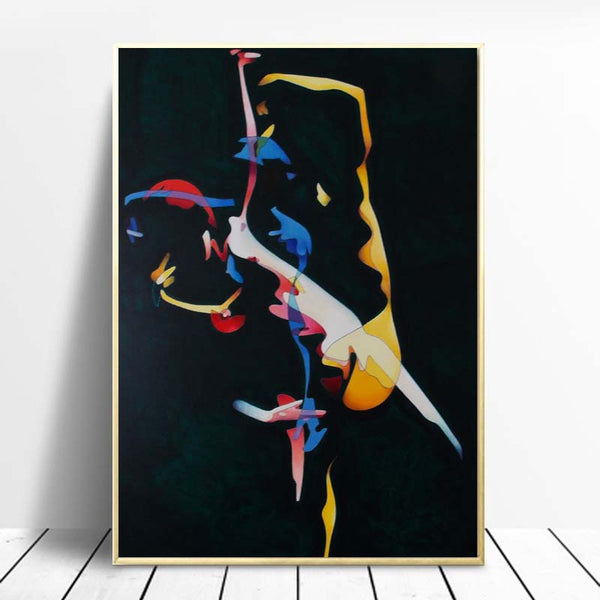 Abstract-Woman-Dancing-and-Run-Art-Print-by-Milburn-Wall Art-Poster