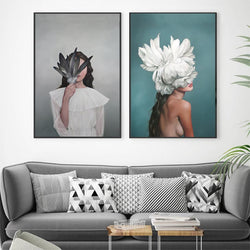 Nordic-Style-Beauty-Feather-Girl-Modern-Print-Decor-HD-Wall-Art-Poster