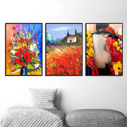 Landscape-Flower-oil-Painting-Nude-Girl-Wall-Print-Wall-Art-Poster