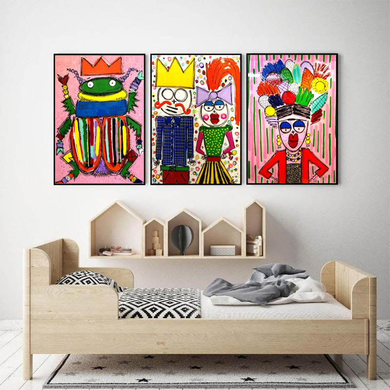 Abstract-Family-Graffiti-Painting-Toto-et-sa-femme-Art-Wall-Canvas