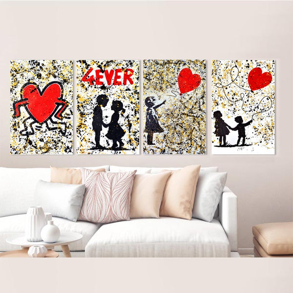 Modern-art-print-4-ever-love-Love-In-The-Air-Gold-and-Black-Canvas