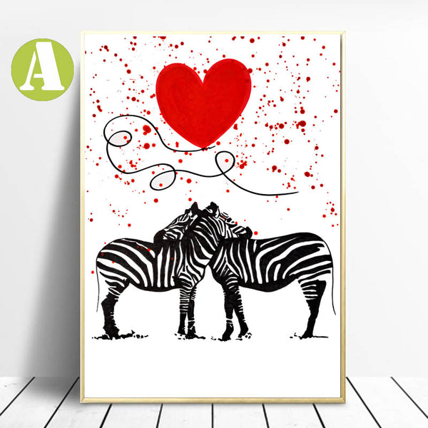 Romantic-Wall-Art-prints-Animal-Zebra-Fall-in-Love-by-Alizzi-Artist