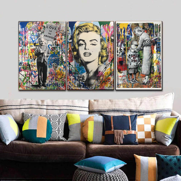 Artwork-Canvas-Painting-Marilyn-Monroe-Pop-Art-Print-Wall-Art-Poster