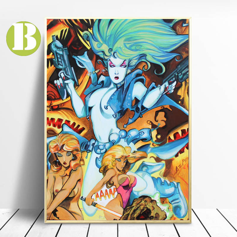 Graffiti-Canvas-Painting-Oilpainting-Motor-Girl-Wall-Art-Print-Poster