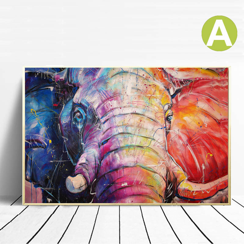 Modern-Graffiti-Animal-Elephant-&-Horse-Looking-Back-Poster-Wall-Art