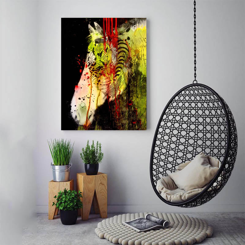 Graffiti-Zebra-Wall-Art-bright-Animals-artwork-Print-Canvas-Painting