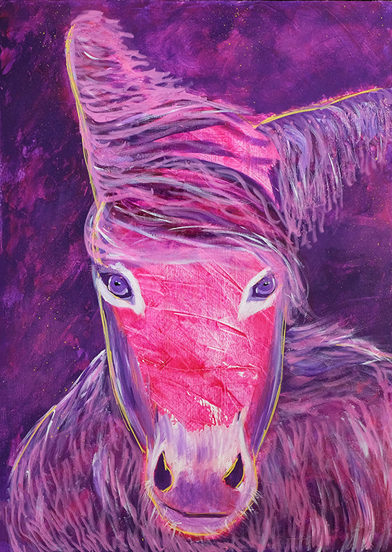Abstract-Aboriginal-animal-canvas-art-Purple-Horse-Print-on-canvas