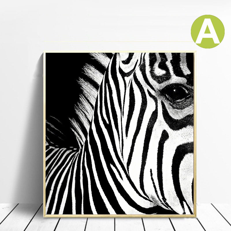 Original-Giraffe-and-Zebra-Artwork-on-Canvas-Black-and-White-Art-Print