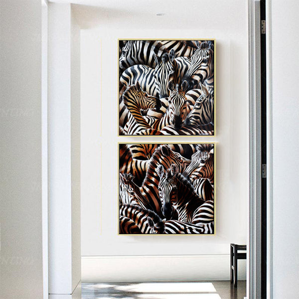 Canvas-Pic-2pcs-Zebra-Animals-Art-Prints-for-Corridor-Wall-Art-poster