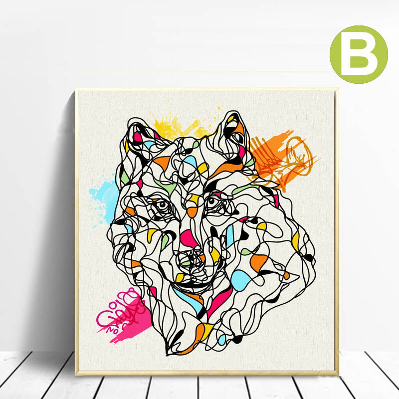 Aboriginal-Animal-Wall-Art-Abstract-Wolf-Art-Prints-By-SISC