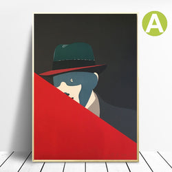 Wall-Art-Prints-on-canvas-Color-Block-Triangle-Rouge-by-Eduardo-Arroyo