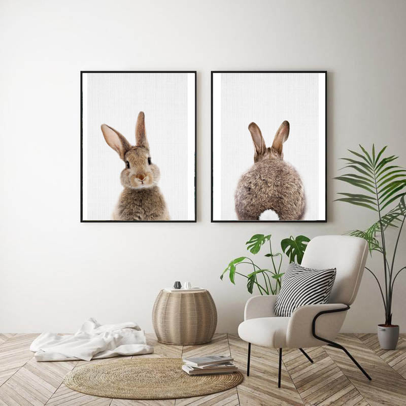 Nordic-Lovely-Bunny-Art-Canvas-Painting-Butt-Print-Home-Decor