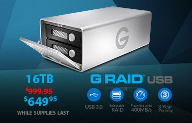 G-Tech G-RAID USB3 16TB Now $649.95! Check out this review!