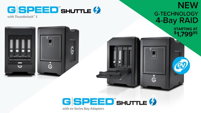 Introducing G-Technology G-SPEED Shuttle with Thunderbolt 3 - 4-Bay Transportable RAID Storage