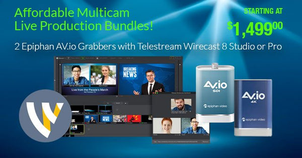 Affordable Multicamera Live Production Bundles with 2 Epiphan AV.io Video Grabbers & Wirecast Software